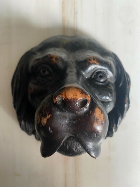 LARGE Black Forest Antique 19th Century Carved Walnut Dog#x27;s Head