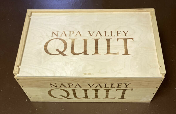 Beautiful Wooden Wine Box With Sliding Lid Empty Holds 12 bottles Quilt Napa