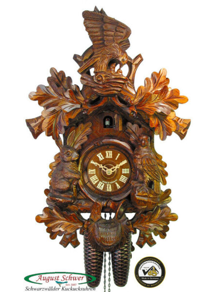 Black Forest Cuckoo Clock 8-Day Eagle & Hare Hunter NEW