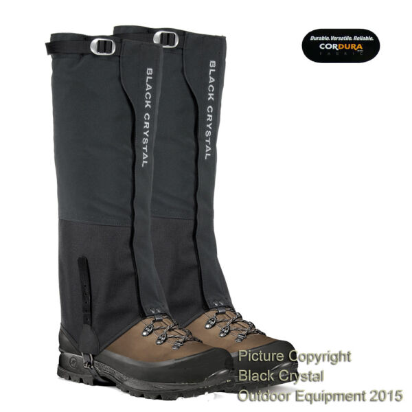Black Crystal Ski Snow Hiking Walking Gaiters Waterproof Nylon Brand New - Mens