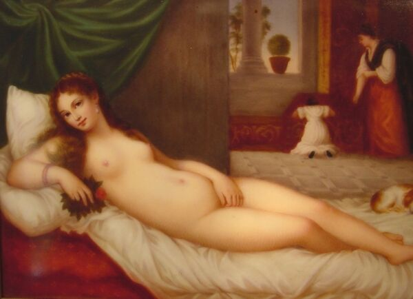 Antique Nude Lady With Small Dog Painting on Porcelain Artist Signed  K. Koch