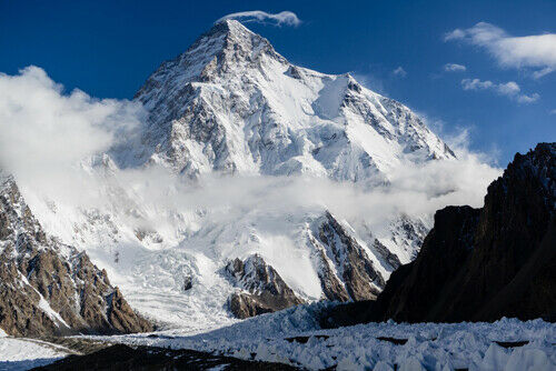 K2 SNOW CAPPED MOUNTAIN poster borders PAKISTAN amp; CHINA raw nature 24X36