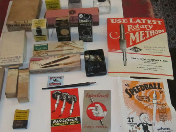 LARGE COLLECTION OF VINTAGE PENS INKS INKWELLS ADVERTISEMENTS IN ORIGINAL BOX