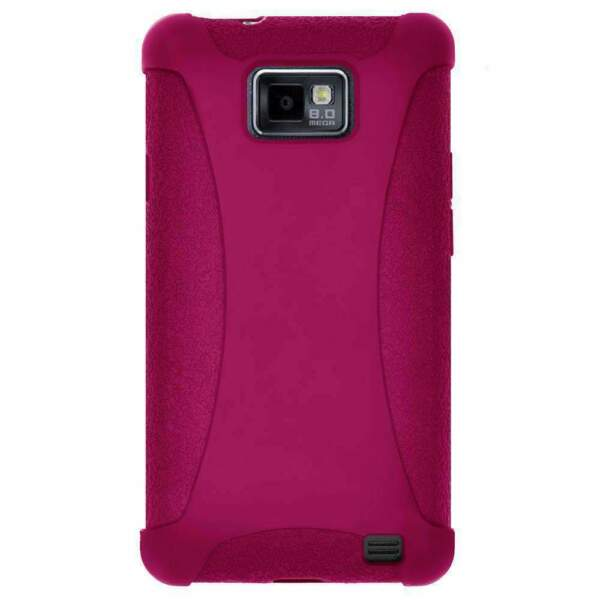 Amzer Silicone Soft Skin Case Cover for Samsung Galaxy S2 I777 I9100 - Hot Pink