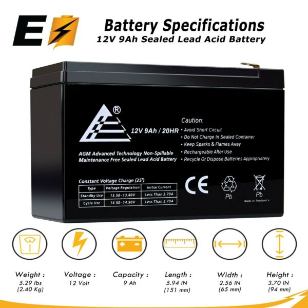 12V 9Ah 8Ah 7Ah Sealed Lead Acid Battery for UPSSurge Protector And Scooters