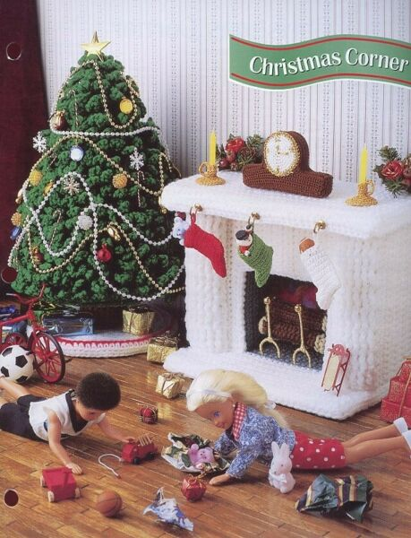 Christmas Corner Tree Fireplace fits Barbie Doll Crochet PatternInstructions