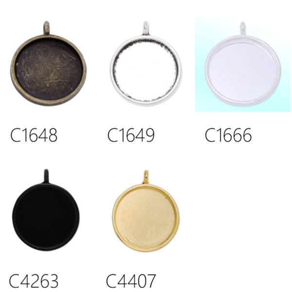 2050Pcs 20MM Round Zinc Alloy Bezel Pendant Trays Blank Bases Cabochon Settings