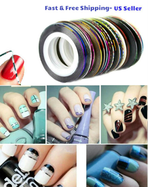 10 ColorRolls Nail Striping Tape Line Tips Sticker Nail Art Decoration Manicure