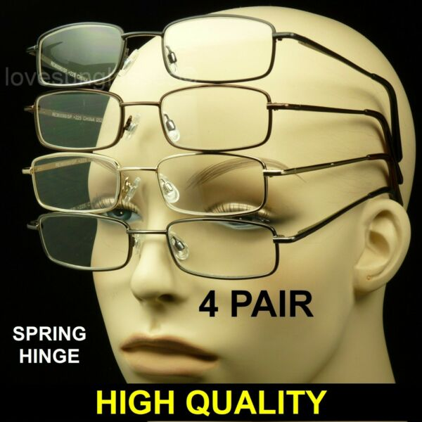 4 PAIR READING GLASSES CLEAR LENS SPRING HINGE PACK LOT METAL POWER