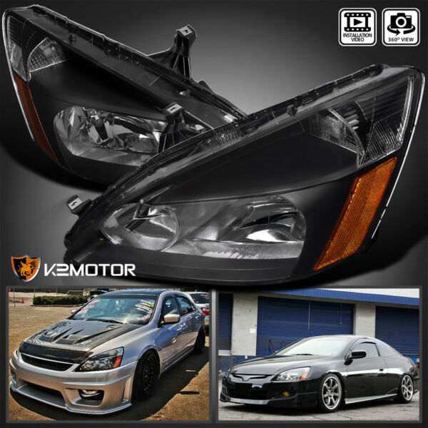 For 2003 2007 Honda Accord 2 4Dr Black Replacement Headlights Lamps LeftRight