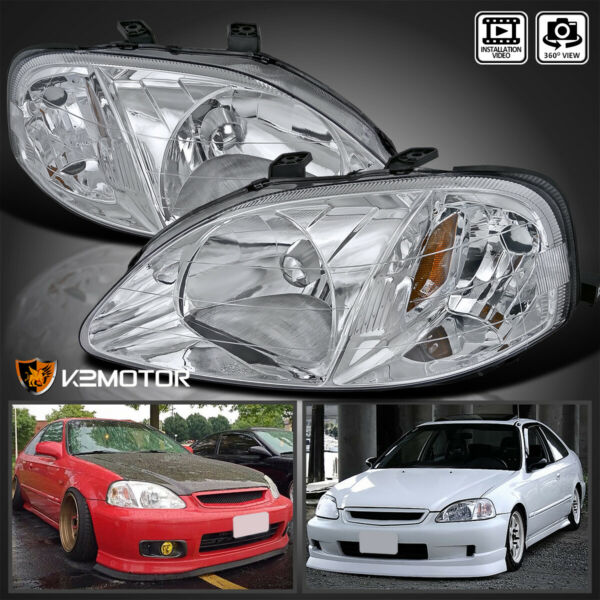 For 1999 2000 Honda Civic EK EJ LX EX SI Clear Headlights Lamps LeftRight