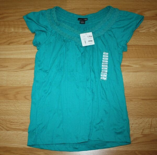 NWT Womens RXB Teal Surf Jade V Neck Twisted Shirt Size S Small $48