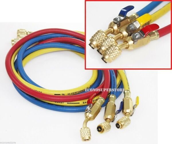 R134a R410A R22 3 color 5ft HVAC AC Charging Hoses 1 4quot; Fitting w Ball Valves $38.99