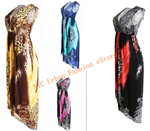 Colorful Leopard Pattern High-Low Style InOut Door Sexy Dress Evening Sundress