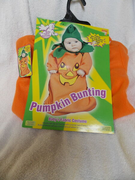 Infant Pumpkin Bunting Halloween Costume One Size Fits Up to 25quot; Long NEW
