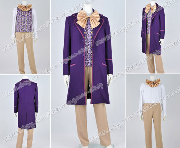 Charlie And The Chocolate Factory Cosplay Willy Wonka Costume Full Set Good Sell
