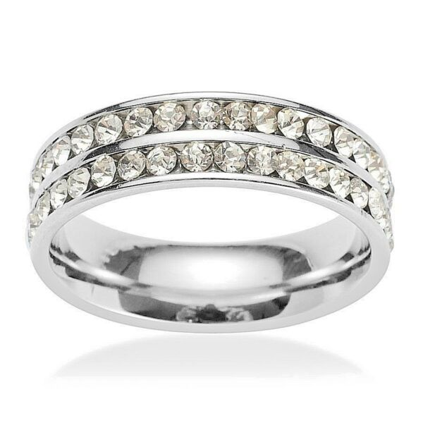Classic & Dazzling White Austrian Crystal Band Ring in Stainless Steel - Size 6