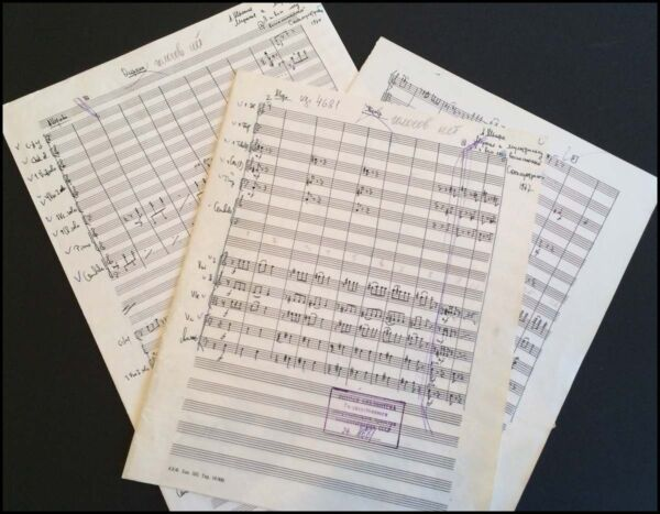 Alfred SCHNITTKE (Composer): Two Autograph Film Score Manuscripts