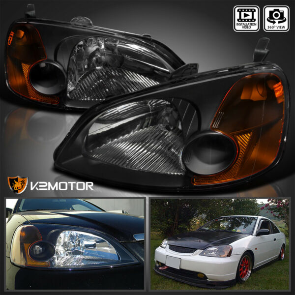 For 2001 2003 Honda Civic 2 4Dr Coupe Sedan Headlights JDM Black LeftRight