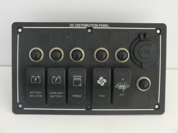 5 Rocker Switch USB Socket Panel Holder ARB Carling waterproof Laser Etched boat