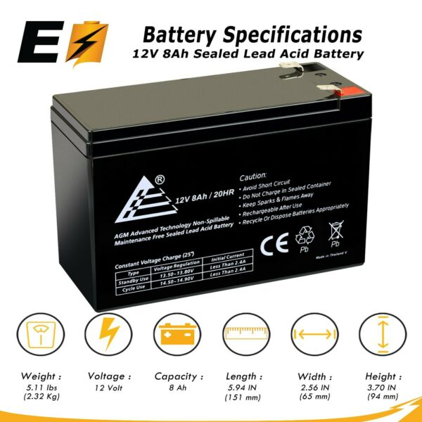 ExpertBattery 12V 8Ah Rechargeable Sealed Lead Battery Replaces GT12080-HG