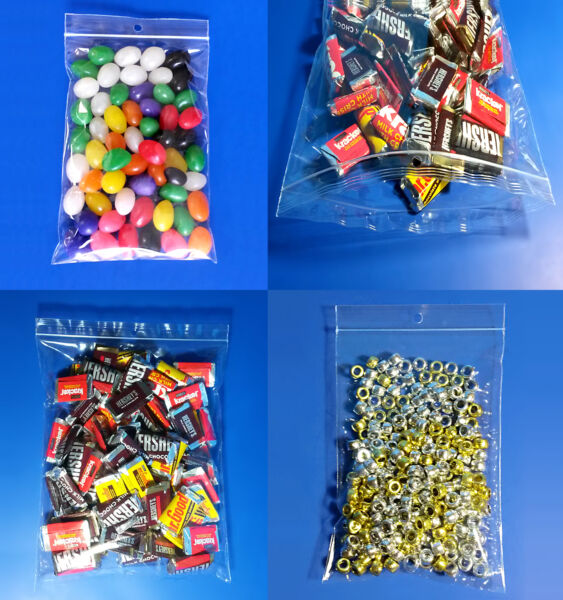 Clear Glossy Polypropylene Ziplock 2-Mil Hanghole Display Jewelry FDA Candy Bags