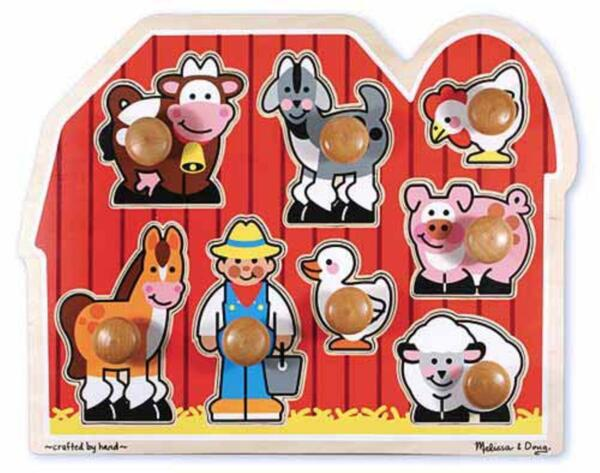 Melissa & Doug Large Farm Jumbo Knob Puzzle - FREE EXPEDITED SHIPPING