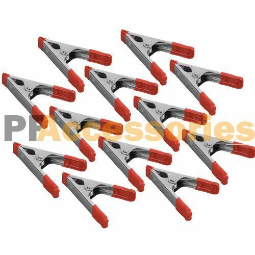 12x 4quot; inch Metal Spring Clamps w Rubber Tips Tool 12 Pcs Lot Steel Red