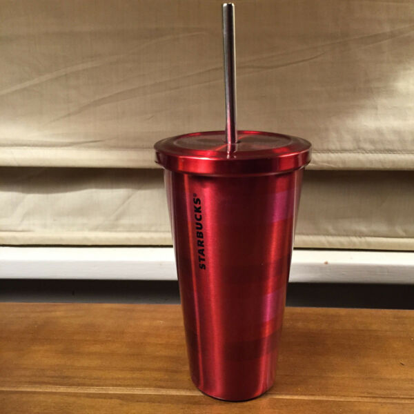 NWT Starbucks Stainless Steel 2014 Coffee Cold Cup Tumbler Red Pink Stripe 16oz