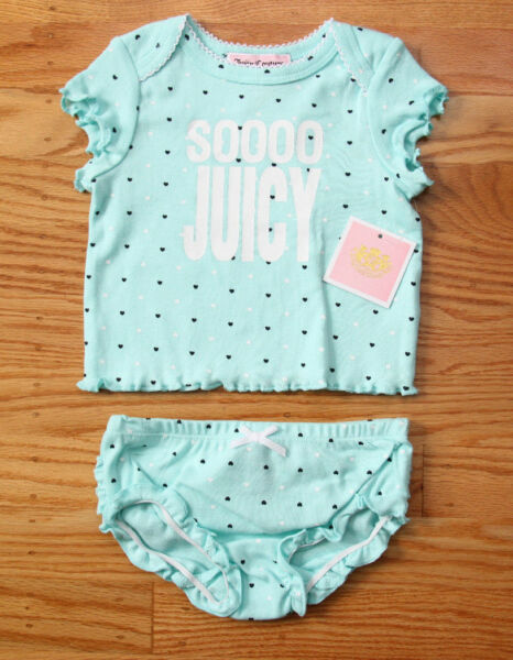 Juicy Couture Baby Girl Diaper Cover Set ~ Turquoise with Hearts ~ Soooo Juicy ~