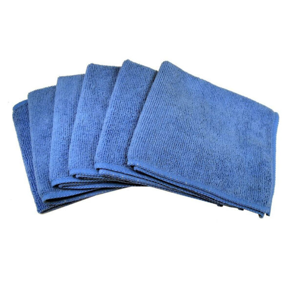6 Blue Microfiber Towel Cleaning Cloth for LED TV and Auto Detailing Polishing $6.99