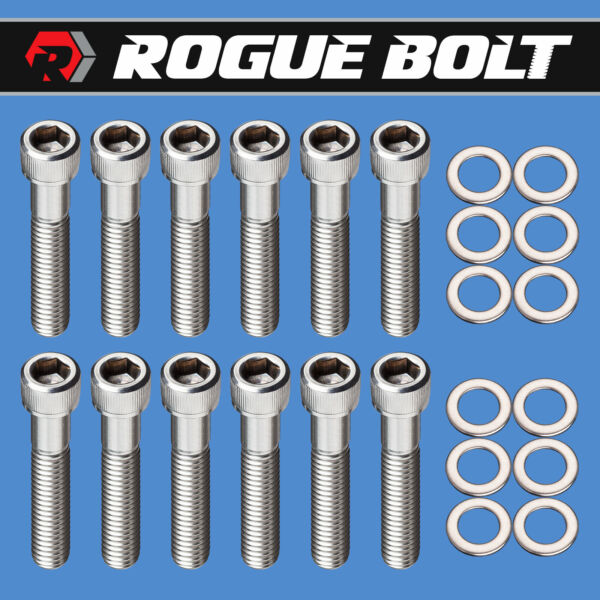 SBC EXHAUST MANIFOLD BOLTS quot;LOG STYLEquot; STAINLESS SMALL BLOCK CHEVY 283 327 350
