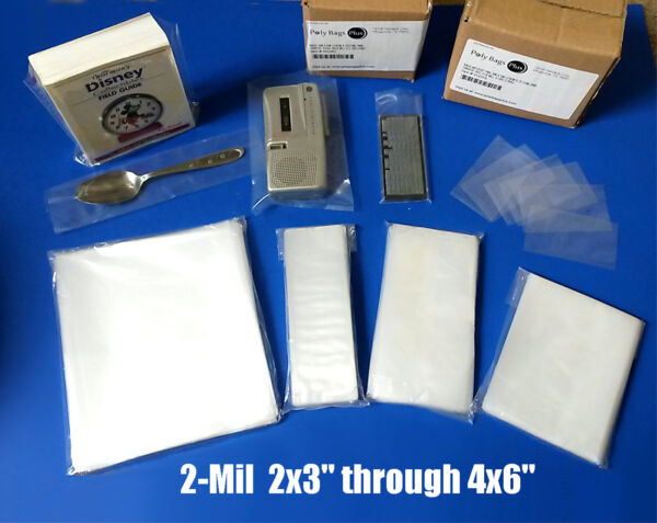 Clear 2Mil Poly Bags PE Flat Open Top 2