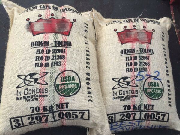 Fair Trade ORGANIC Colombia FTO Tolima Unroasted Green Coffee Beans up to 20 lbs
