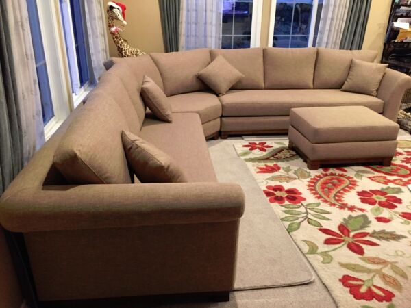 High End Sofa Sectional Custom Couch Ottoman Tan Build A Sofa contemporary $3500.00