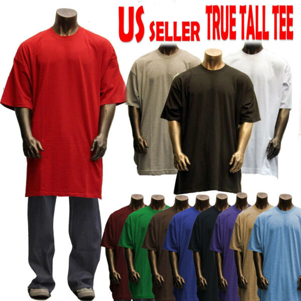 Men's big and tall tee plain solid heavy weight ss t blank M-8X by the basix
