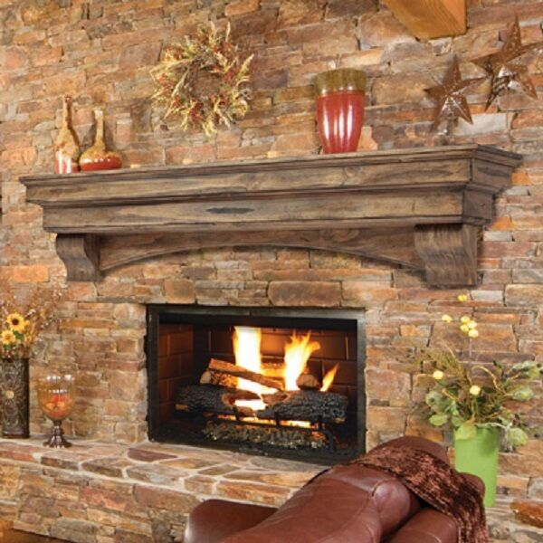 Pearl Mantel Celeste arched pine fireplace mantel or TV shelf. Pick size finish