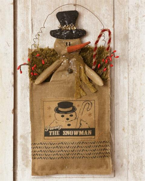 New FROSTY SNOWMAN Wall Door Hanging Burlap Berry Stocking Primitive Country