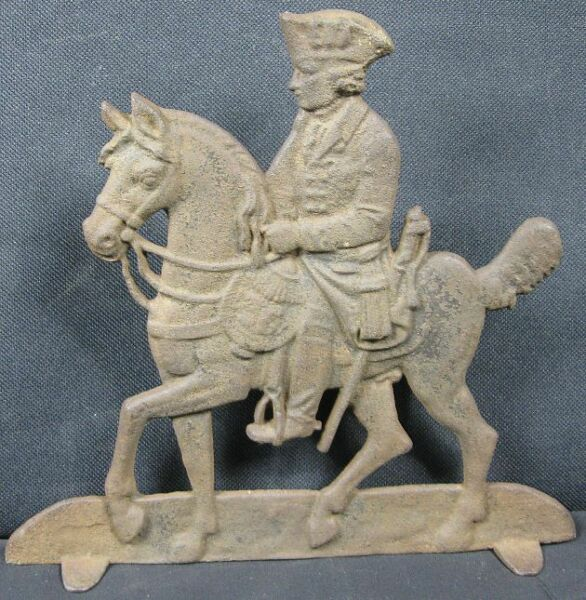 "Antique Cast Iron 8"" Tall George Washington on Horse Stand-up Doorstop"