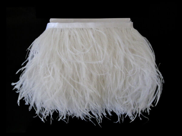 6 Inch Strip - Snow White Ostrich Fringe Trim Feather Millinery Carnival Supply