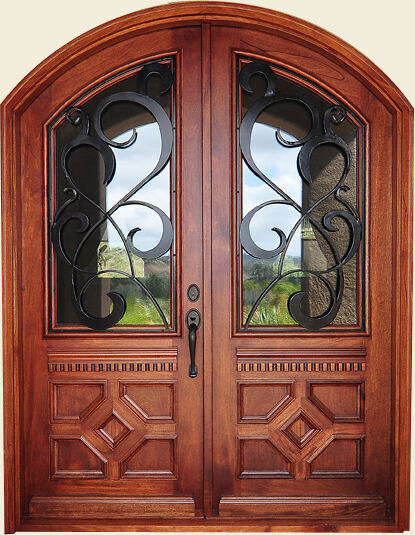 Hand-Crafted Solid Wood & 12 Gauge Wrought Iron Entry Doors 72