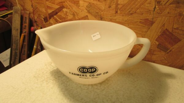 Old Federal Glass Batter Pitcher Farmers Co Op Hooper Nebraska No. 2