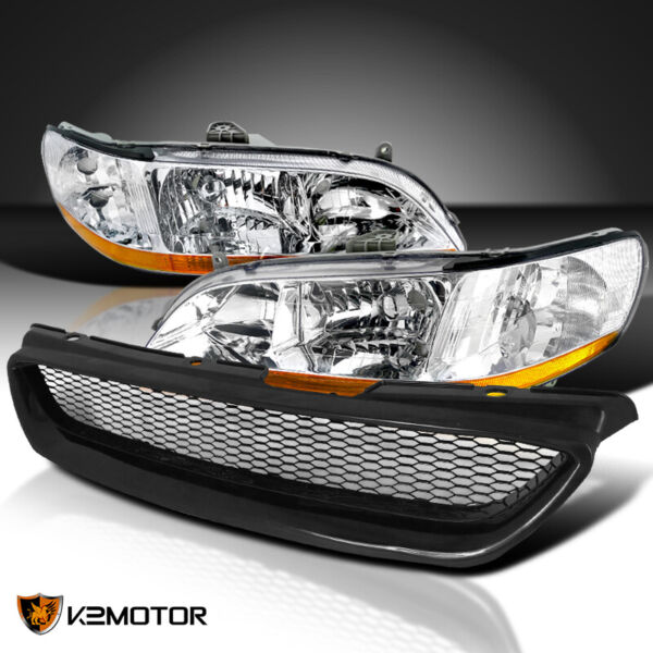 For 98-02 Accord 2Dr Coupe Crystal Chrome Head Lights+Front Hood Bumper Grill