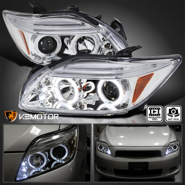 For 2005 2010 Scion tC LED Halo Clear Projector Headlights Lamp LeftRight 05 10 $152.38