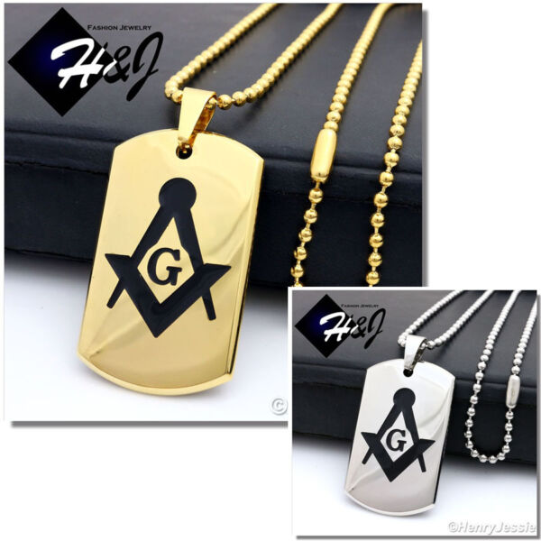 24quot;MEN Stainless Steel 2.5mm Gold Silver Beads Chain MASONIC Dog Tag Pendant*P71 $14.99