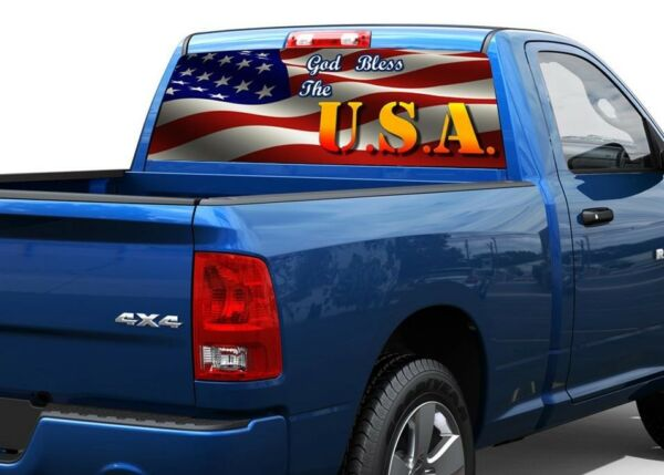 God bless the USA America flag Rear Window Decal Sticker Pick-up Truck SUV Car