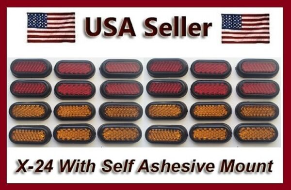 24 Stick On Safety Mini Reflectors Red amp; Amber Car Motorcycle RV Trailer amp; Bike $8.84