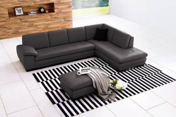 Premium Grey Leather Upholstery Sectional Sofa Right Hand J&M 625 Contemporary