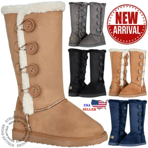 New Women#x27;s Four Button Faux Fur Lined Shearing Mid Calf Winter Snow Fur Boots