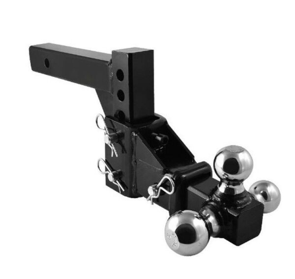 HD 3 BALL ADJUSTABLE DROP TURN TRAILER TOW 2quot; HITCH MOUNT TOWING TRUCK SOLID $82.99